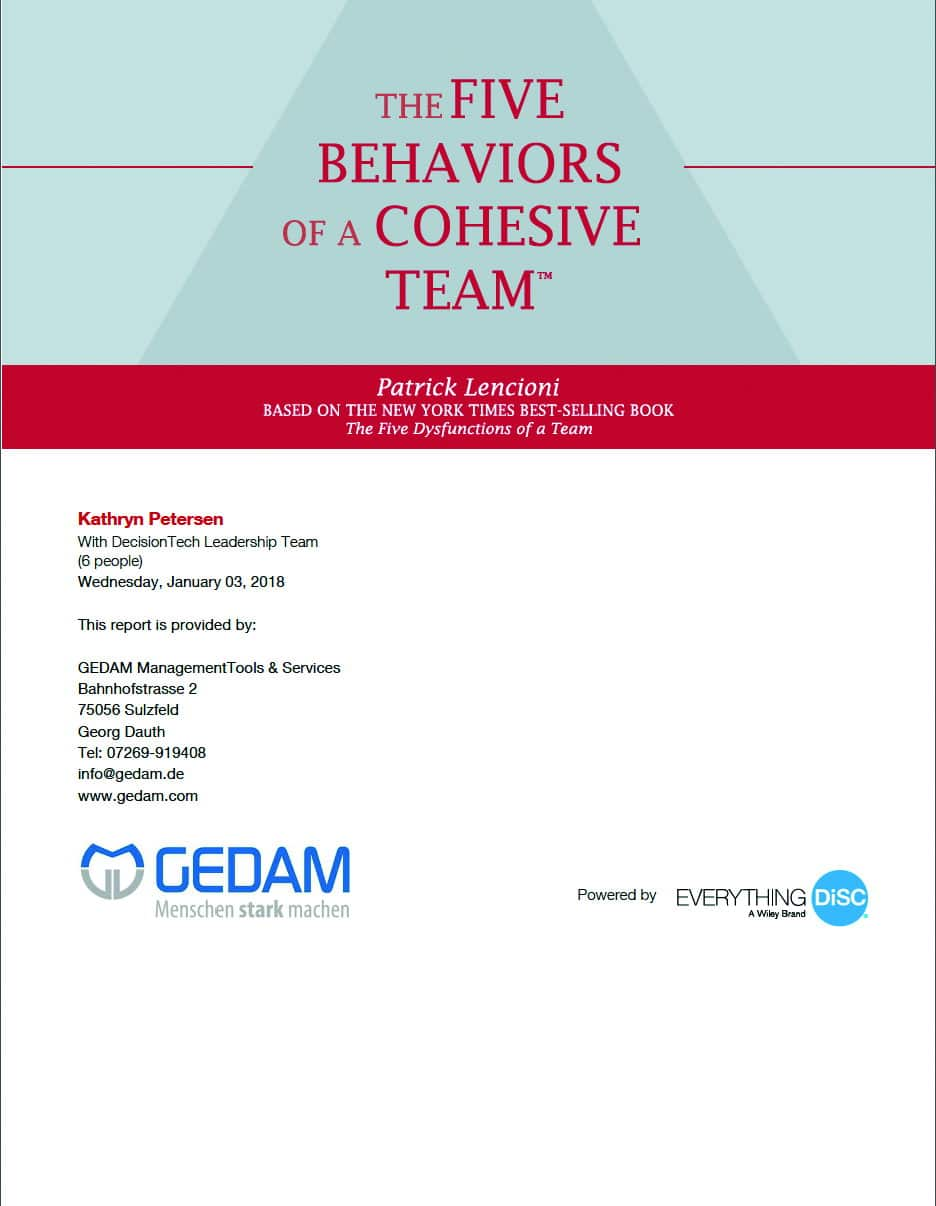 The Five Behaviours of a Cohesive Team Einzelbericht 4